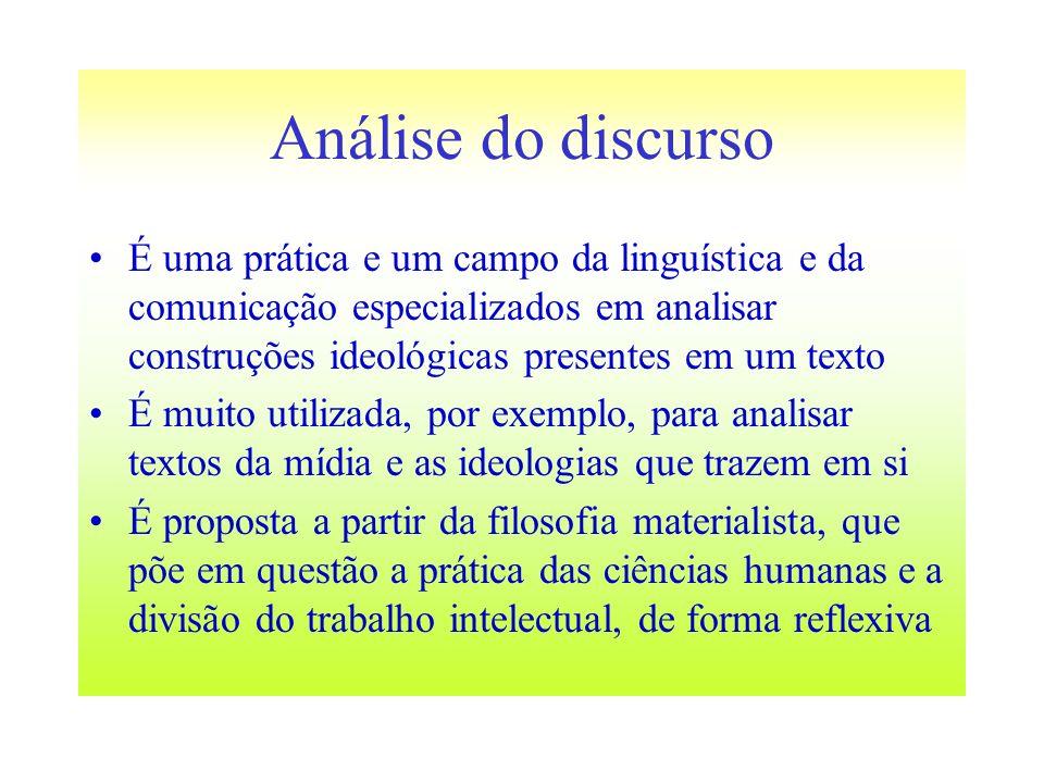 Análise do discurso É uma prática e um campo da linguística e da comunicação especializados em analisar construções ideológicas presentes em um texto