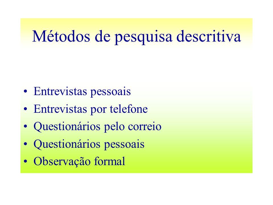 Métodos de pesquisa descritiva Entrevistas pessoais Entrevistas por telefone Questionários pelo correio Questionários pessoais Observação formal