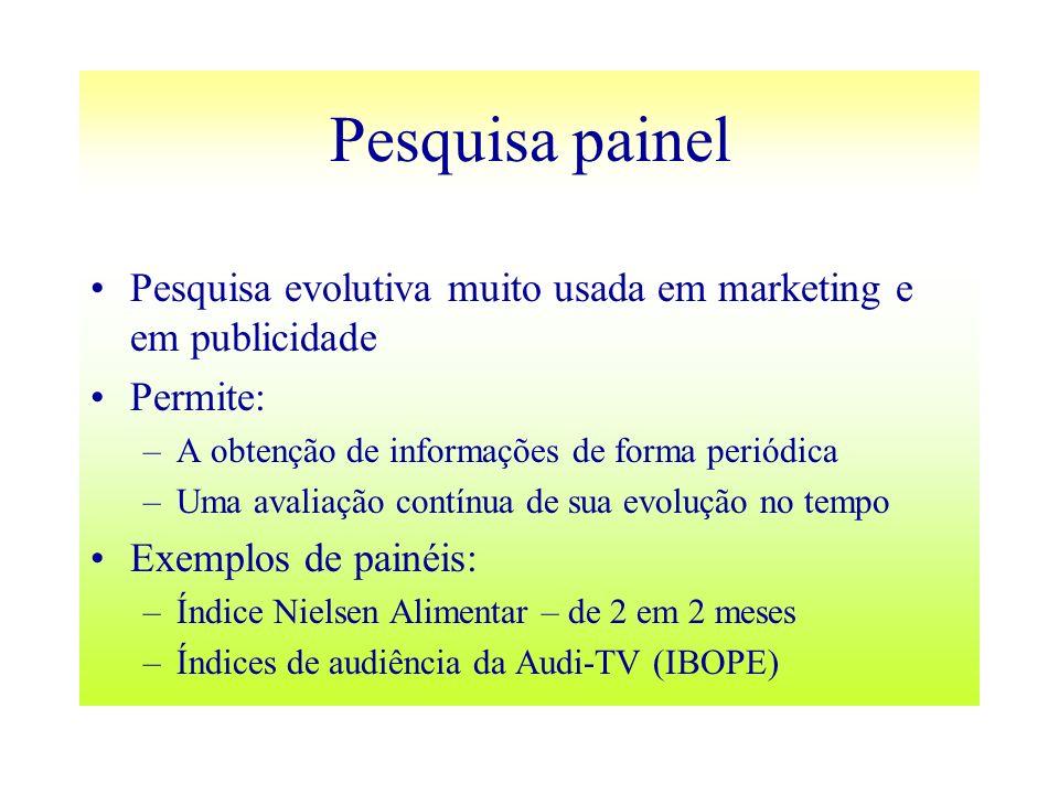 Pesquisa painel Pesquisa evolutiva muito usada em marketing e em publicidade Permite: –A obtenção de informações de forma periódica –Uma avaliação con