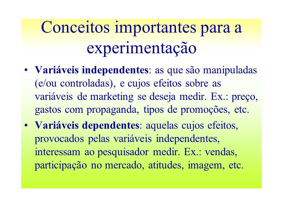 Conceitos importantes para a experimentação Variáveis independentes: as que são manipuladas (e/ou controladas), e cujos efeitos sobre as variáveis de