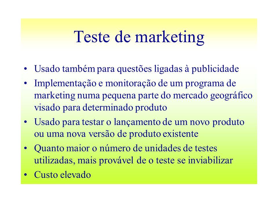 Teste de marketing Usado também para questões ligadas à publicidade Implementação e monitoração de um programa de marketing numa pequena parte do merc