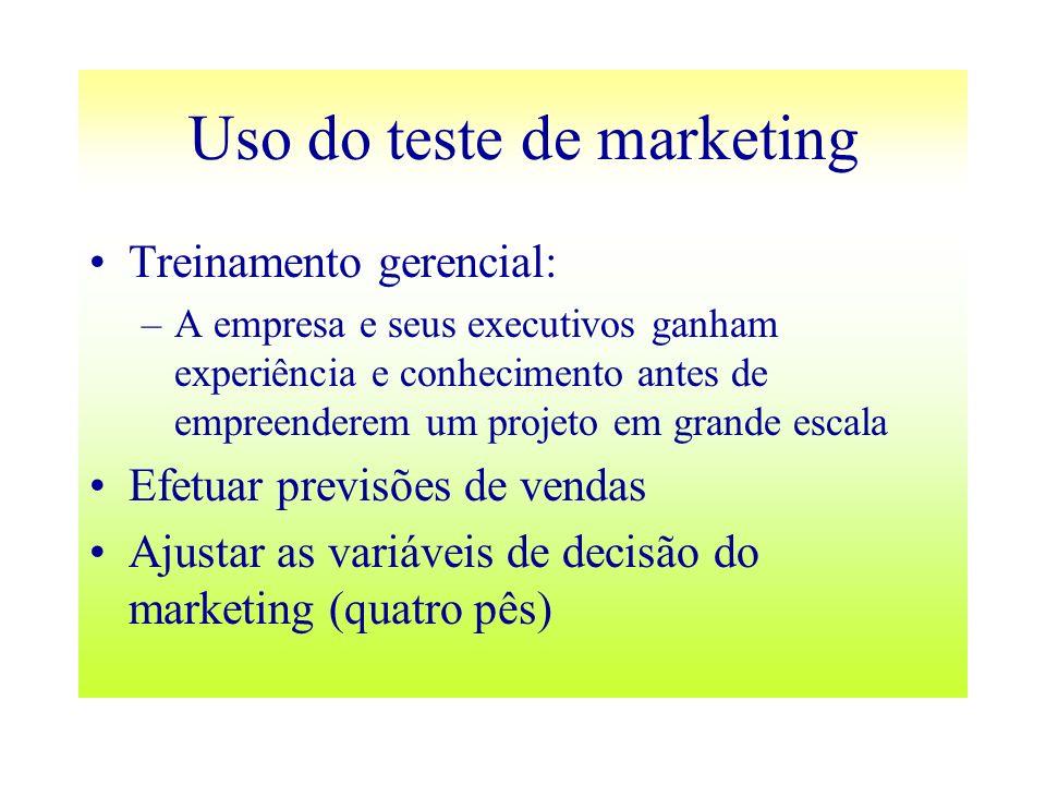 Uso do teste de marketing Treinamento gerencial: –A empresa e seus executivos ganham experiência e conhecimento antes de empreenderem um projeto em gr