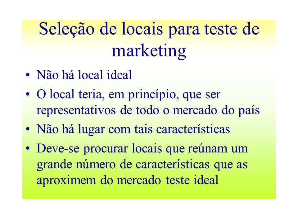 Seleção de locais para teste de marketing Não há local ideal O local teria, em princípio, que ser representativos de todo o mercado do país Não há lug