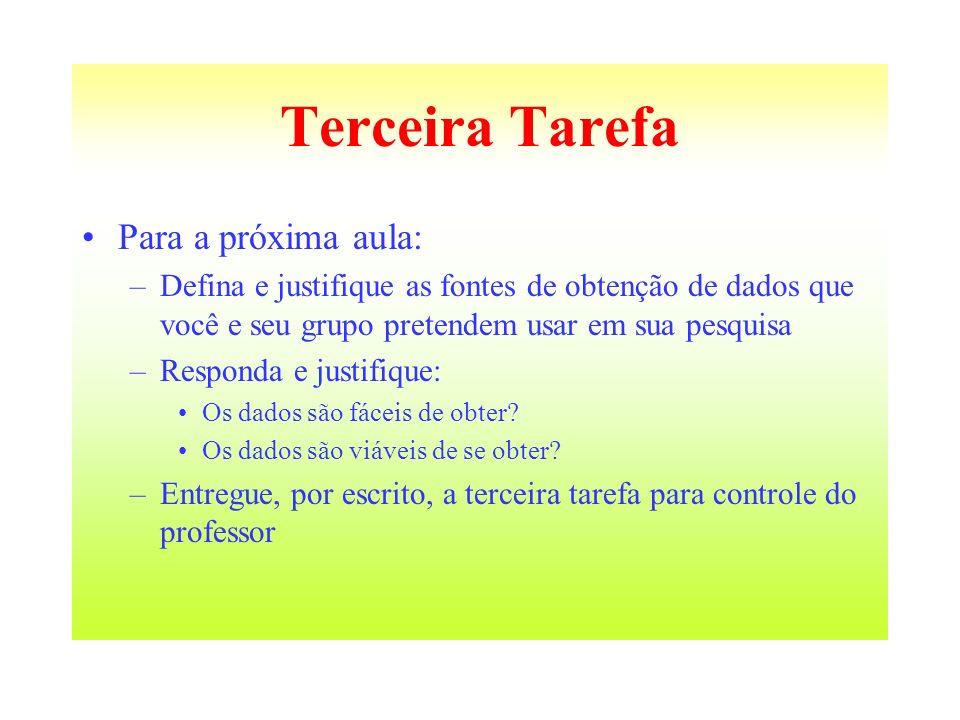 Terceira Tarefa Para a próxima aula: –Defina e justifique as fontes de obtenção de dados que você e seu grupo pretendem usar em sua pesquisa –Responda
