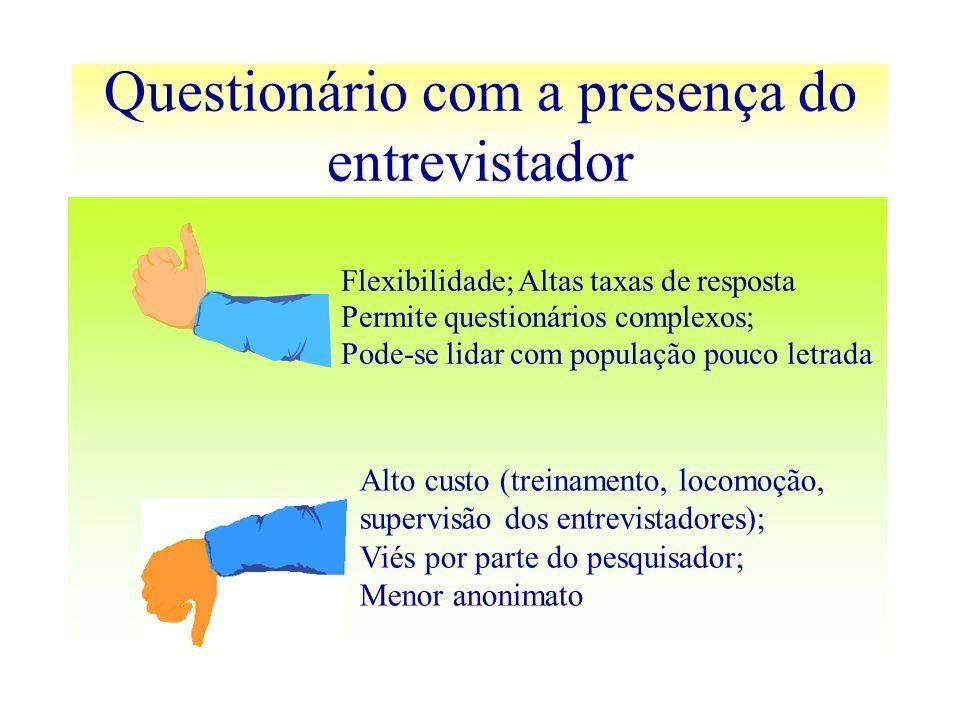 Questionário com a presença do entrevistador Flexibilidade; Altas taxas de resposta Permite questionários complexos; Pode-se lidar com população pouco