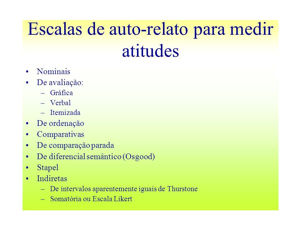 Escalas de auto-relato para medir atitudes Nominais De avaliação: –Gráfica –Verbal –Itemizada De ordenação Comparativas De comparação parada De difere