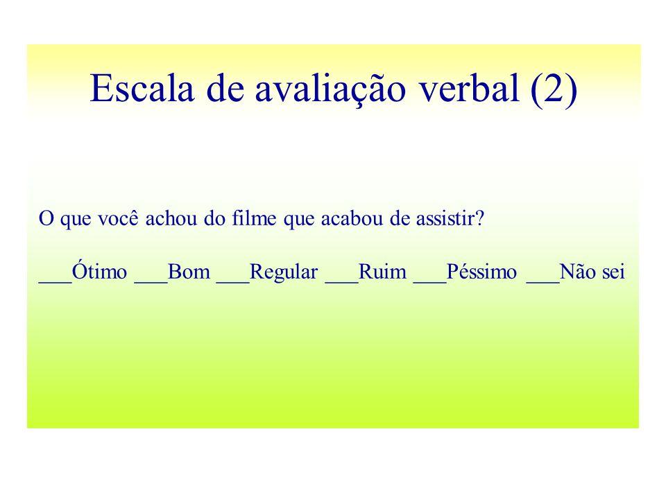 Escala de avaliação verbal (2) O que você achou do filme que acabou de assistir? ___Ótimo ___Bom ___Regular ___Ruim ___Péssimo ___Não sei
