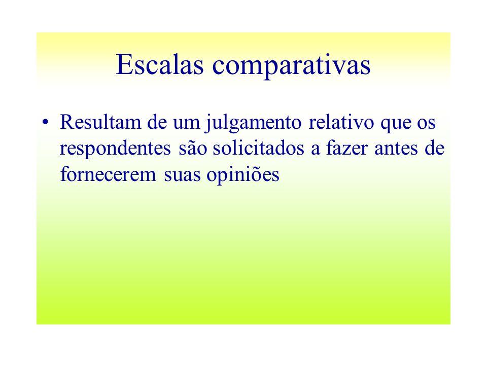 Escalas comparativas Resultam de um julgamento relativo que os respondentes são solicitados a fazer antes de fornecerem suas opiniões