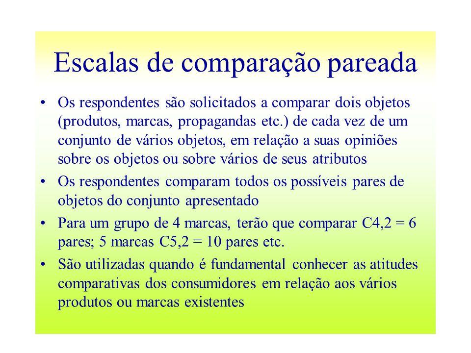 Escalas de comparação pareada Os respondentes são solicitados a comparar dois objetos (produtos, marcas, propagandas etc.) de cada vez de um conjunto