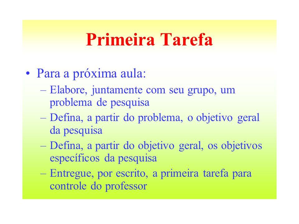 Primeira Tarefa Para a próxima aula: –Elabore, juntamente com seu grupo, um problema de pesquisa –Defina, a partir do problema, o objetivo geral da pe