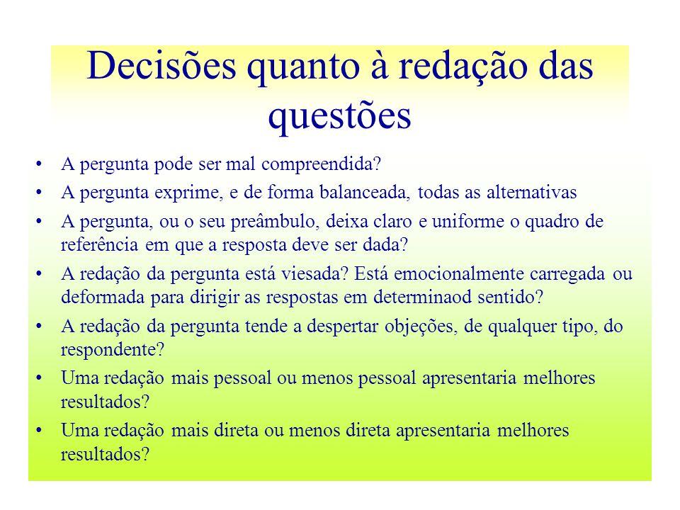 Decisões quanto à redação das questões A pergunta pode ser mal compreendida? A pergunta exprime, e de forma balanceada, todas as alternativas A pergun