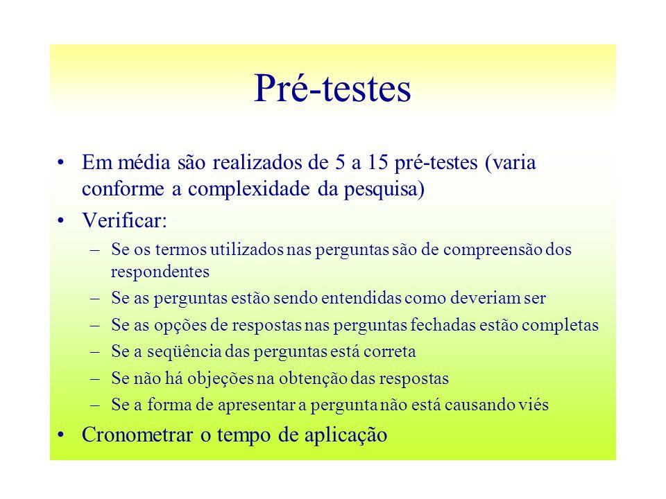 Pré-testes Em média são realizados de 5 a 15 pré-testes (varia conforme a complexidade da pesquisa) Verificar: –Se os termos utilizados nas perguntas
