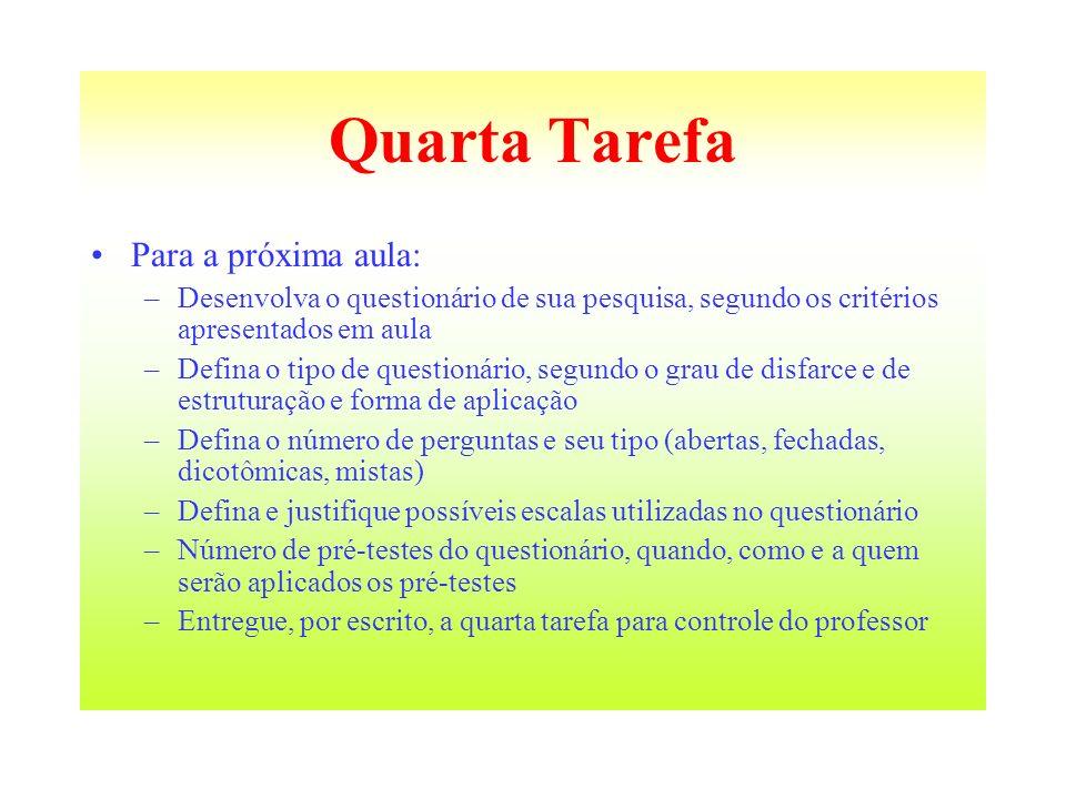 Quarta Tarefa Para a próxima aula: –Desenvolva o questionário de sua pesquisa, segundo os critérios apresentados em aula –Defina o tipo de questionári