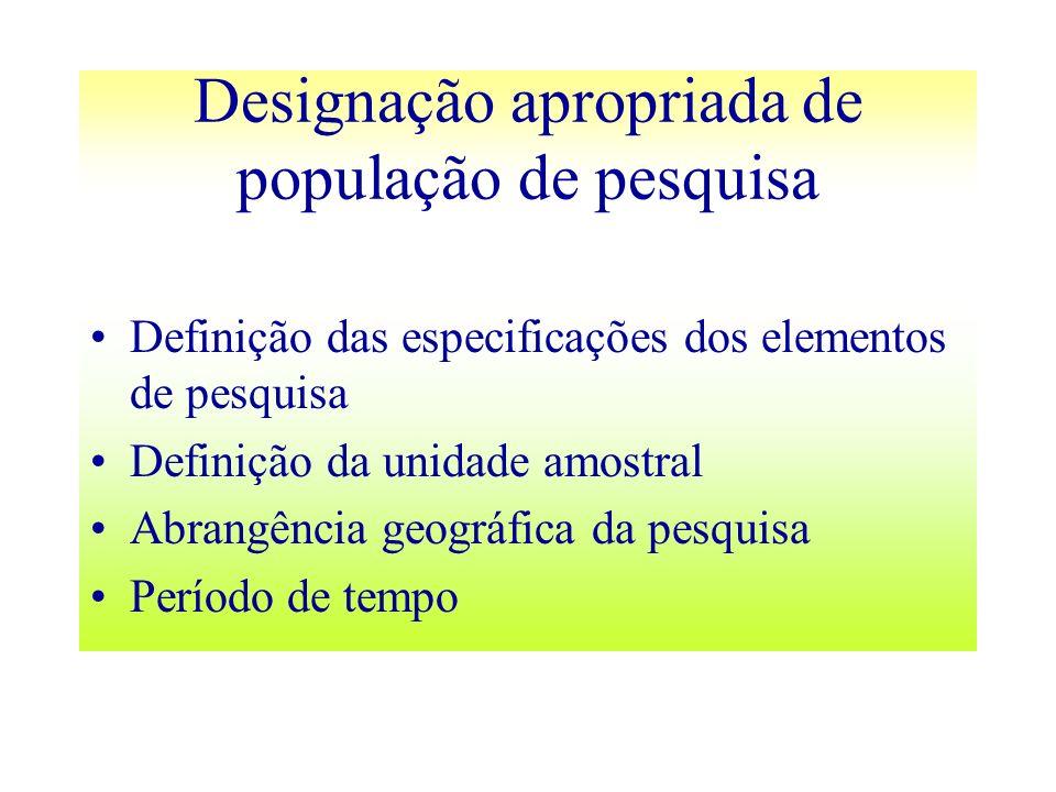 Designação apropriada de população de pesquisa Definição das especificações dos elementos de pesquisa Definição da unidade amostral Abrangência geográ