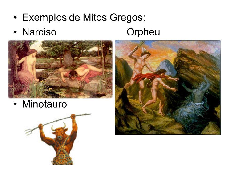 Exemplos de Mitos Gregos: NarcisoOrpheu Minotauro