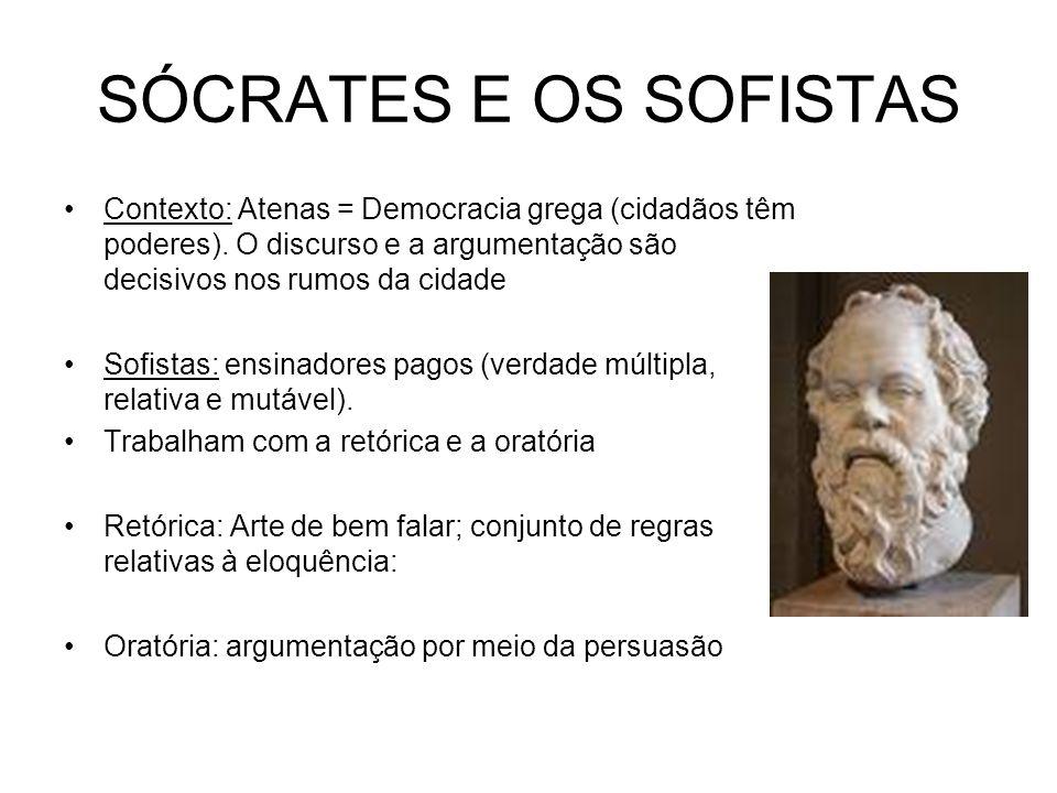 SÓCRATES E OS SOFISTAS Contexto: Atenas = Democracia grega (cidadãos têm poderes). O discurso e a argumentação são decisivos nos rumos da cidade Sofis