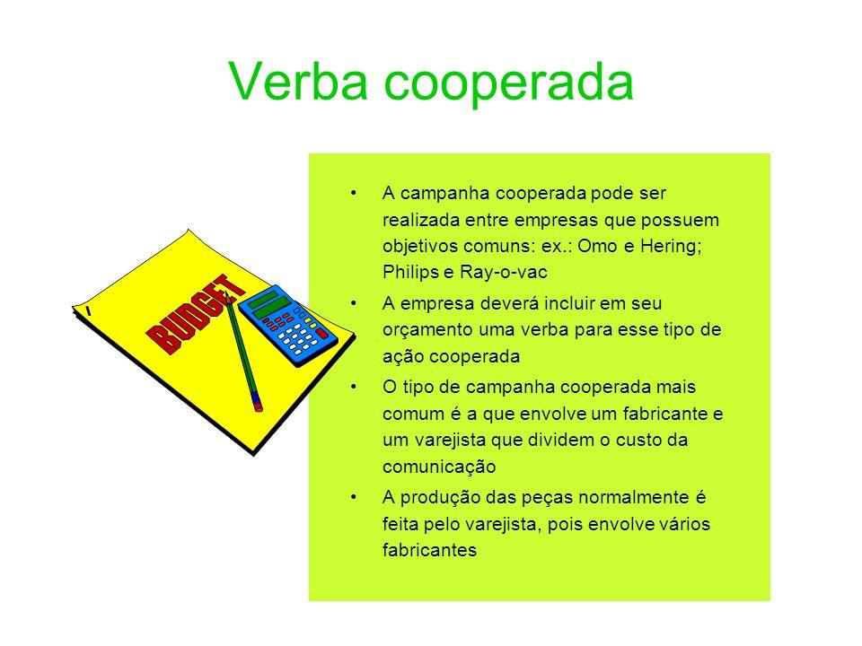 Verba cooperada A campanha cooperada pode ser realizada entre empresas que possuem objetivos comuns: ex.: Omo e Hering; Philips e Ray-o-vac A empresa