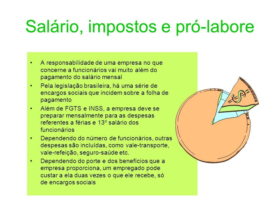Salário, impostos e pró-labore A responsabilidade de uma empresa no que concerne a funcionários vai muito além do pagamento do salário mensal Pela leg