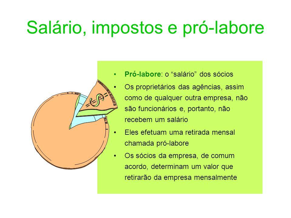 Salário, impostos e pró-labore Pró-labore: o salário dos sócios Os proprietários das agências, assim como de qualquer outra empresa, não são funcionár