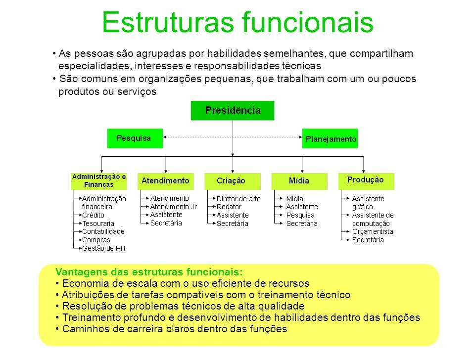 Estruturas funcionais Vantagens das estruturas funcionais: Economia de escala com o uso eficiente de recursos Atribuições de tarefas compatíveis com o
