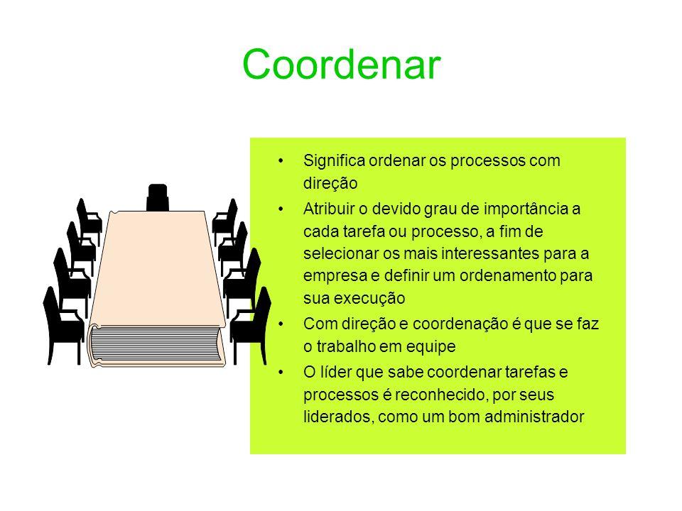 Coordenar Significa ordenar os processos com direção Atribuir o devido grau de importância a cada tarefa ou processo, a fim de selecionar os mais inte