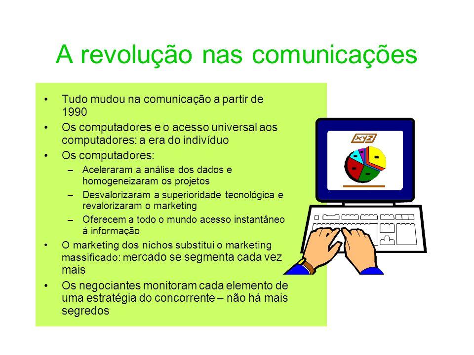 A revolução nas comunicações Tudo mudou na comunicação a partir de 1990 Os computadores e o acesso universal aos computadores: a era do indivíduo Os c