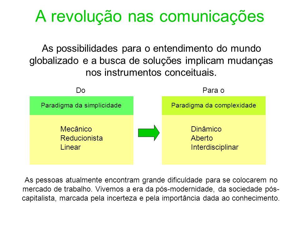 A revolução nas comunicações As possibilidades para o entendimento do mundo globalizado e a busca de soluções implicam mudanças nos instrumentos conce