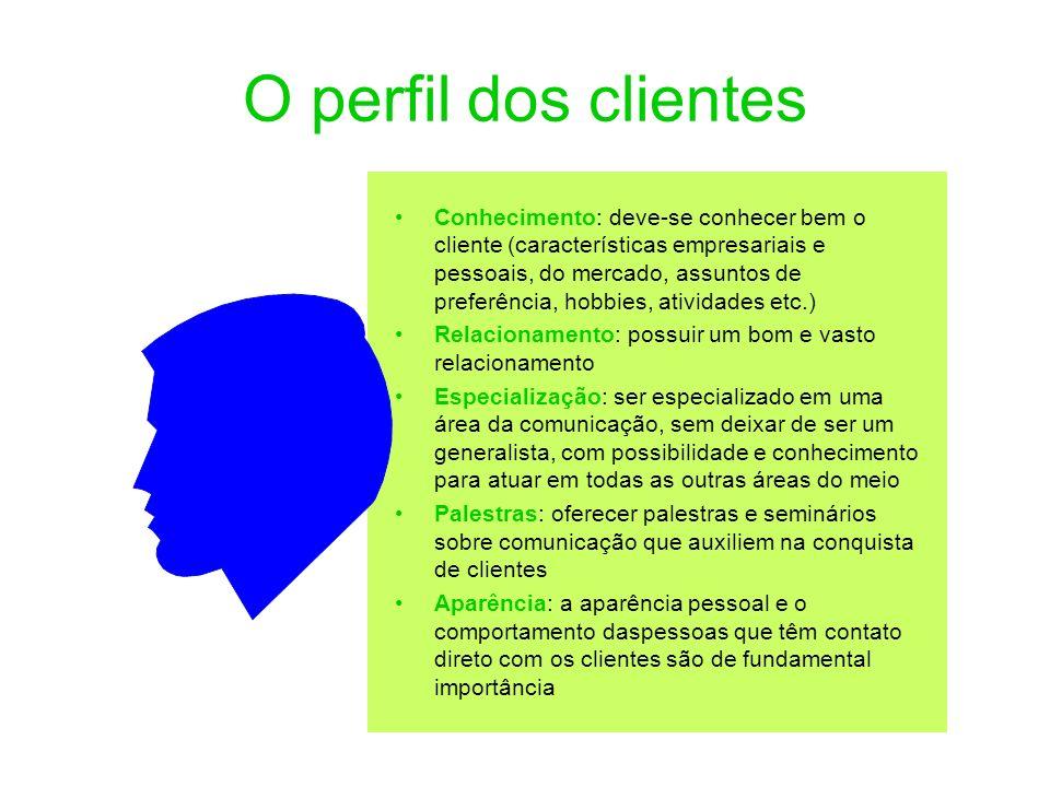O perfil dos clientes Conhecimento: deve-se conhecer bem o cliente (características empresariais e pessoais, do mercado, assuntos de preferência, hobb