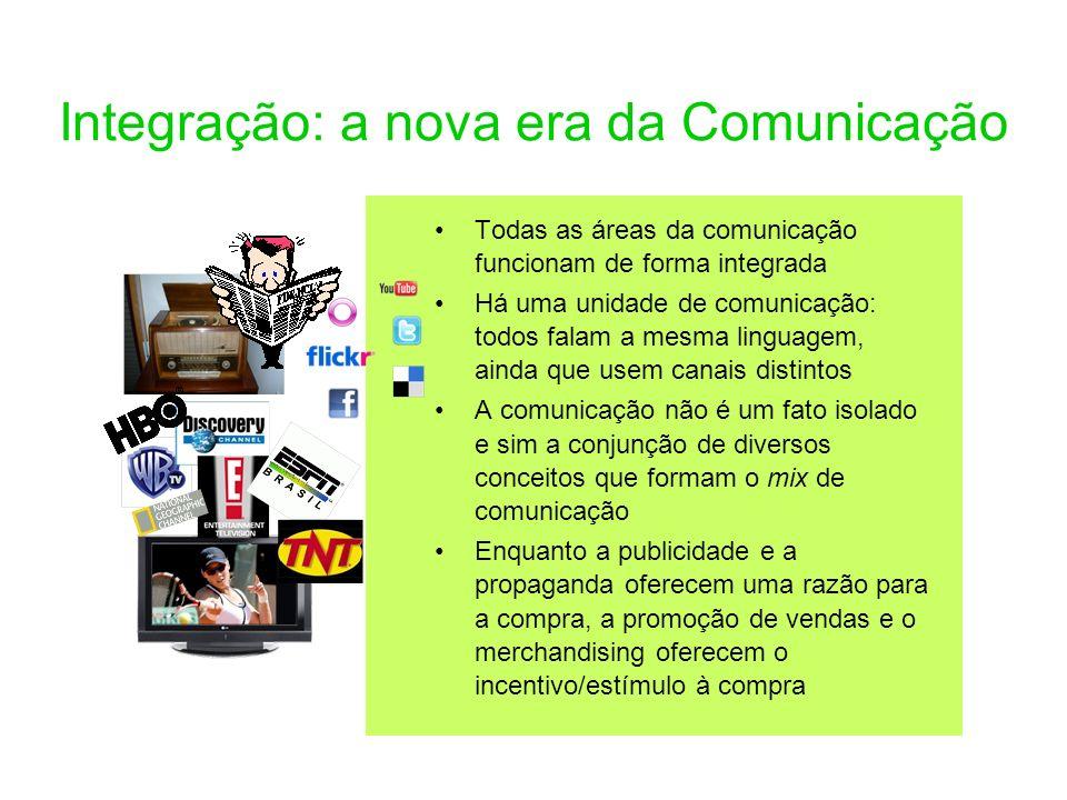 Integração: a nova era da Comunicação Todas as áreas da comunicação funcionam de forma integrada Há uma unidade de comunicação: todos falam a mesma li