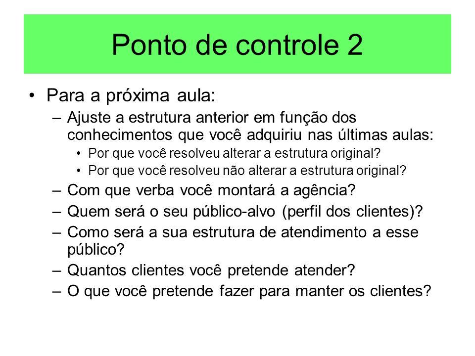 Ponto de controle 2 Para a próxima aula: –Ajuste a estrutura anterior em função dos conhecimentos que você adquiriu nas últimas aulas: Por que você re