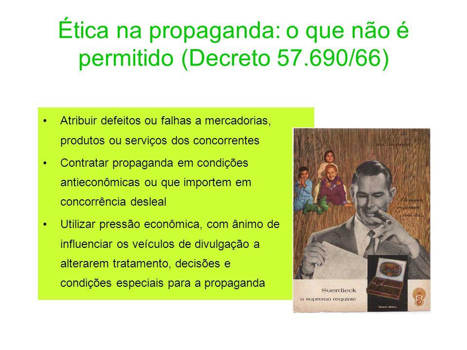 Ética na propaganda: o que não é permitido (Decreto 57.690/66) Atribuir defeitos ou falhas a mercadorias, produtos ou serviços dos concorrentes Contra