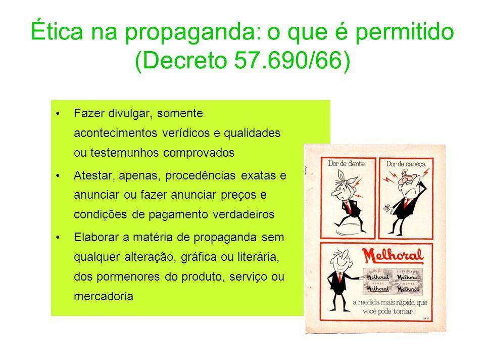 Ética na propaganda: o que é permitido (Decreto 57.690/66) Fazer divulgar, somente acontecimentos verídicos e qualidades ou testemunhos comprovados At