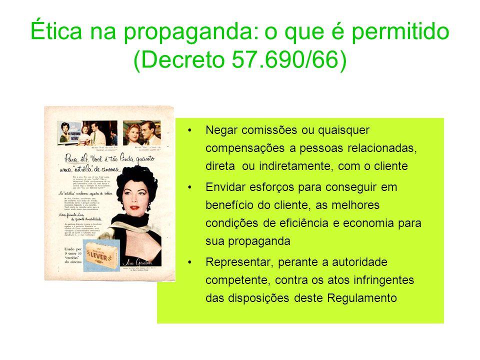 Ética na propaganda: o que é permitido (Decreto 57.690/66) Negar comissões ou quaisquer compensações a pessoas relacionadas, direta ou indiretamente,