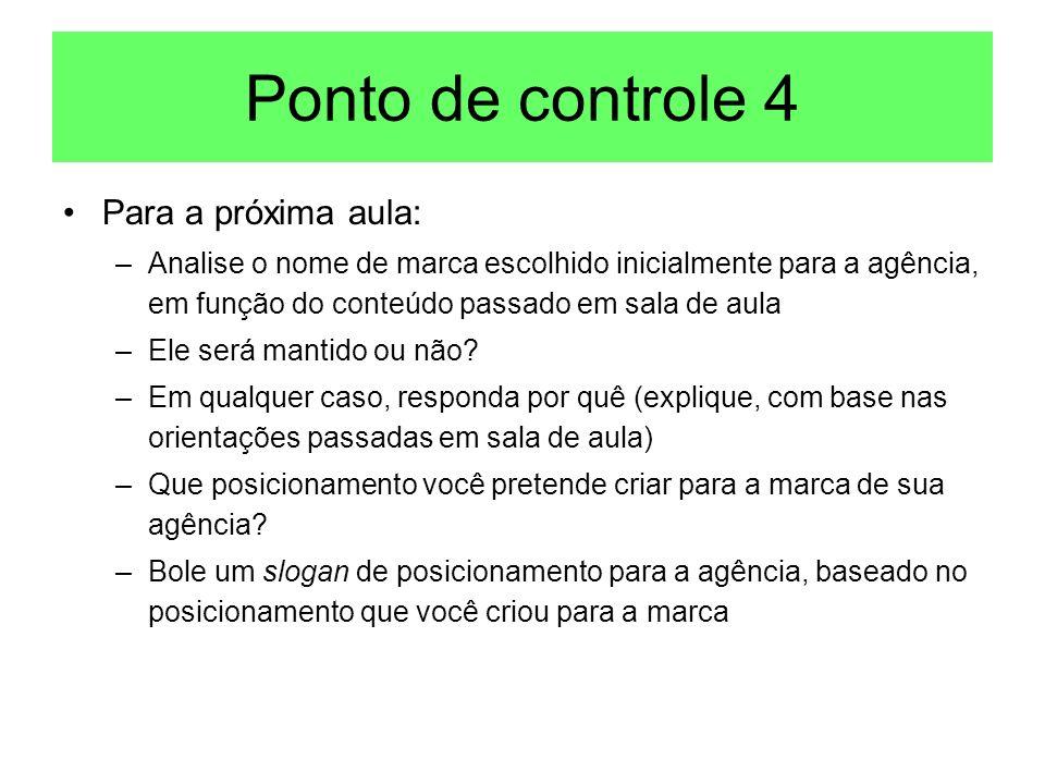 Ponto de controle 4 Para a próxima aula: –Analise o nome de marca escolhido inicialmente para a agência, em função do conteúdo passado em sala de aula