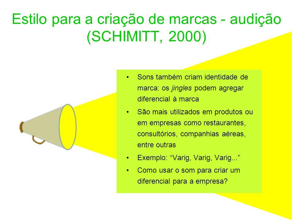 Estilo para a criação de marcas - audição (SCHIMITT, 2000) Sons também criam identidade de marca: os jingles podem agregar diferencial à marca São mai