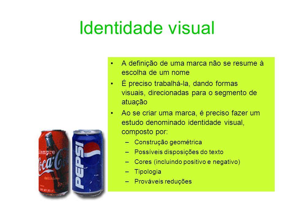 Identidade visual A definição de uma marca não se resume à escolha de um nome É preciso trabalhá-la, dando formas visuais, direcionadas para o segment