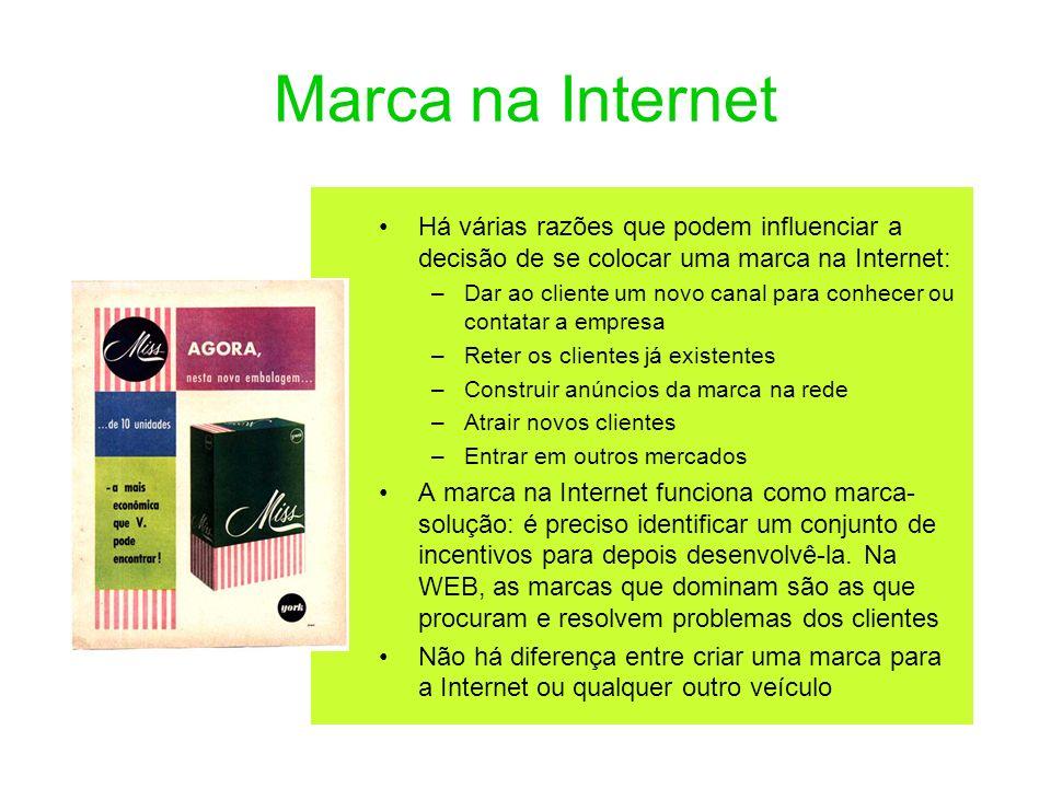 Marca na Internet Há várias razões que podem influenciar a decisão de se colocar uma marca na Internet: –Dar ao cliente um novo canal para conhecer ou