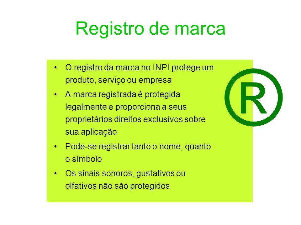 Registro de marca O registro da marca no INPI protege um produto, serviço ou empresa A marca registrada é protegida legalmente e proporciona a seus pr
