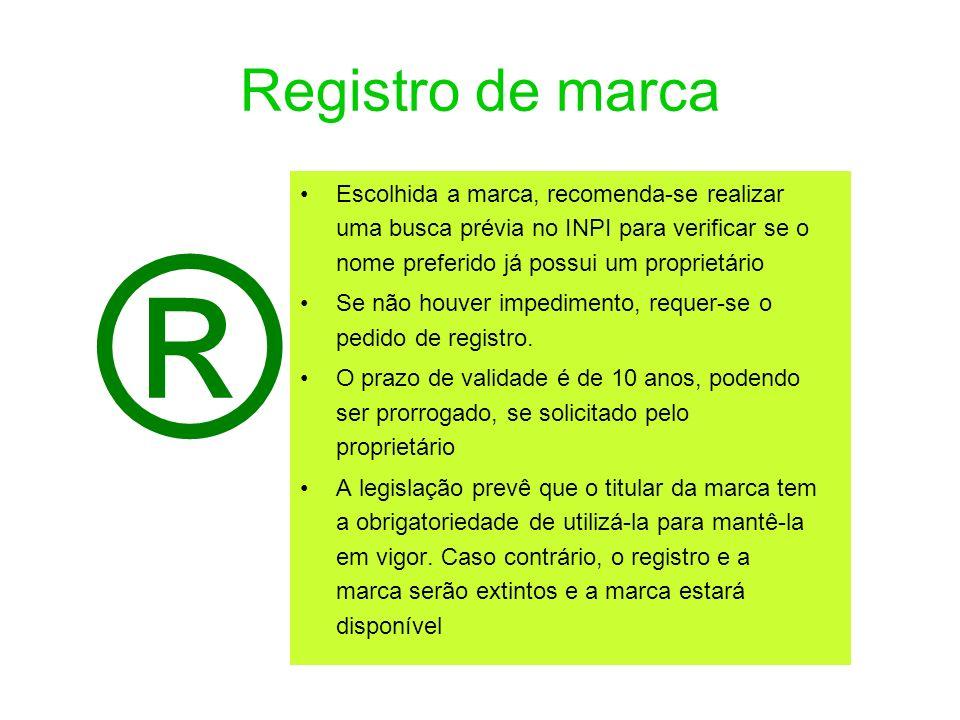 Registro de marca Escolhida a marca, recomenda-se realizar uma busca prévia no INPI para verificar se o nome preferido já possui um proprietário Se nã
