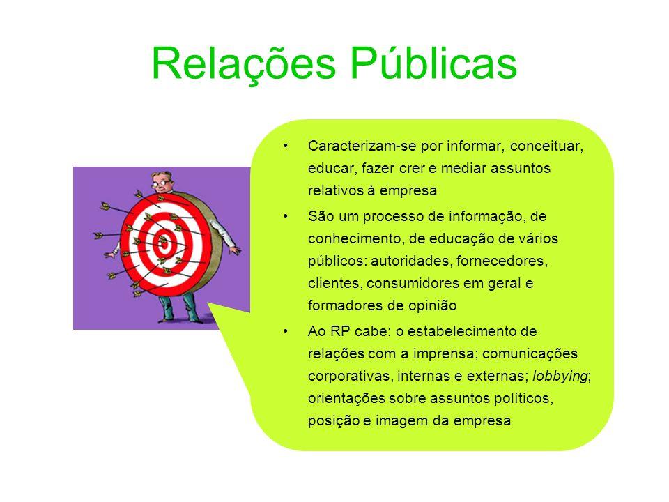 Relações Públicas Caracterizam-se por informar, conceituar, educar, fazer crer e mediar assuntos relativos à empresa São um processo de informação, de