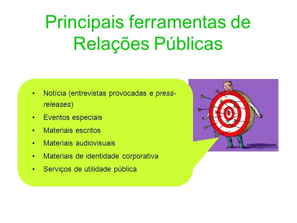 Principais ferramentas de Relações Públicas Notícia (entrevistas provocadas e press- releases) Eventos especiais Materiais escritos Materiais audiovis