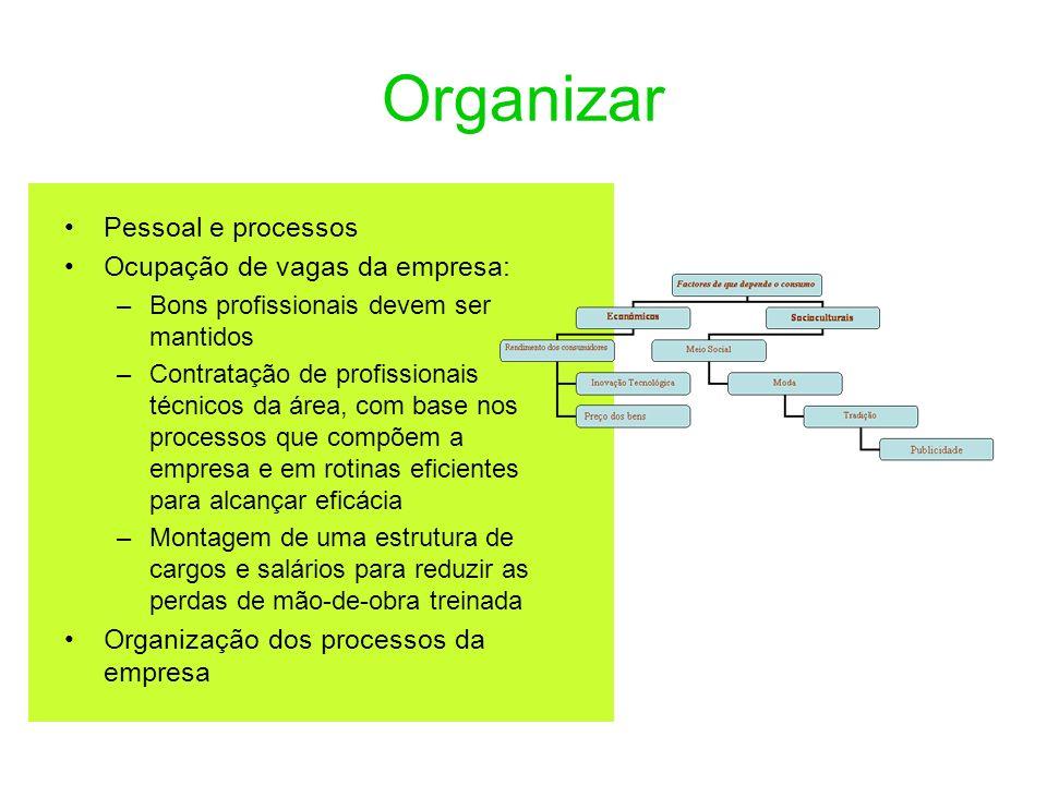 Organizar Pessoal e processos Ocupação de vagas da empresa: –Bons profissionais devem ser mantidos –Contratação de profissionais técnicos da área, com