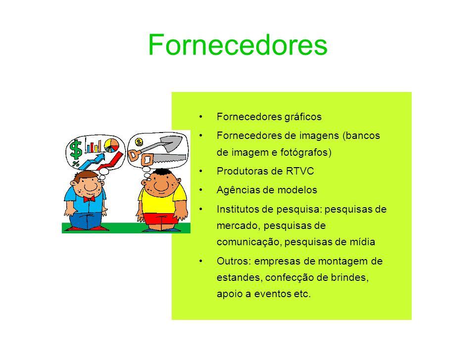 Fornecedores Fornecedores gráficos Fornecedores de imagens (bancos de imagem e fotógrafos) Produtoras de RTVC Agências de modelos Institutos de pesqui