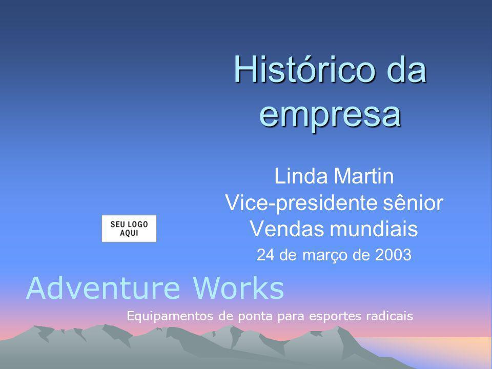 Adventure Works Equipamentos de ponta para esportes radicais Linda Martin Vice-presidente sênior Vendas mundiais 24 de março de 2003 Histórico da empresa