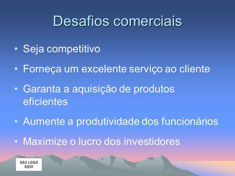 Desafios comerciais Seja competitivo Forneça um excelente serviço ao cliente Garanta a aquisição de produtos eficientes Aumente a produtividade dos funcionários Maximize o lucro dos investidores