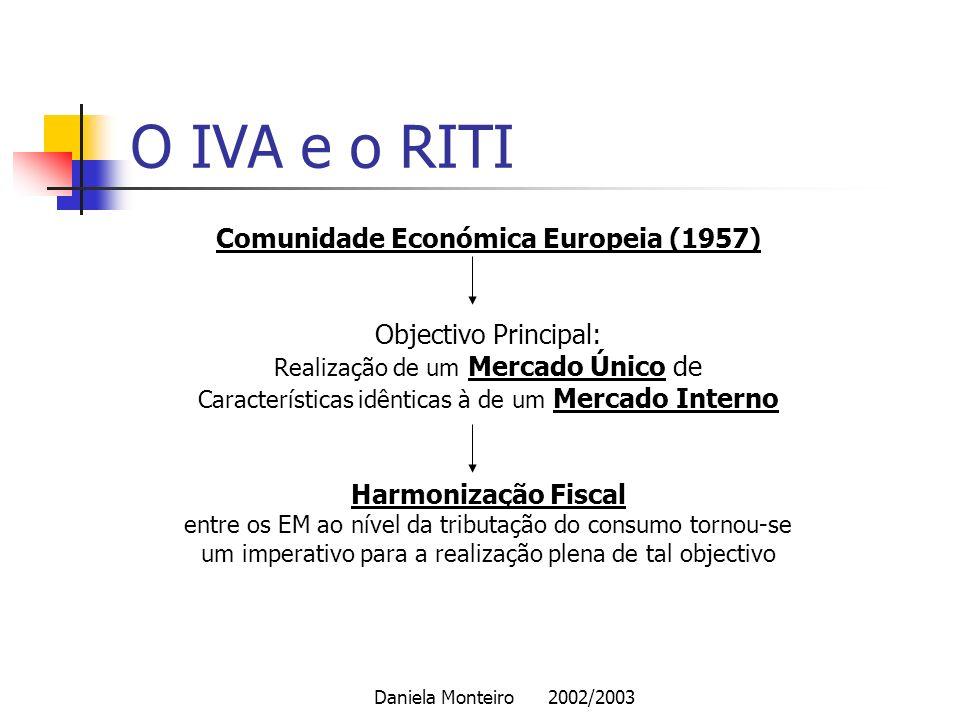 Daniela Monteiro 2002/2003 O IVA e o RITI Comunidade Económica Europeia (1957) Objectivo Principal: Realização de um Mercado Único de Características