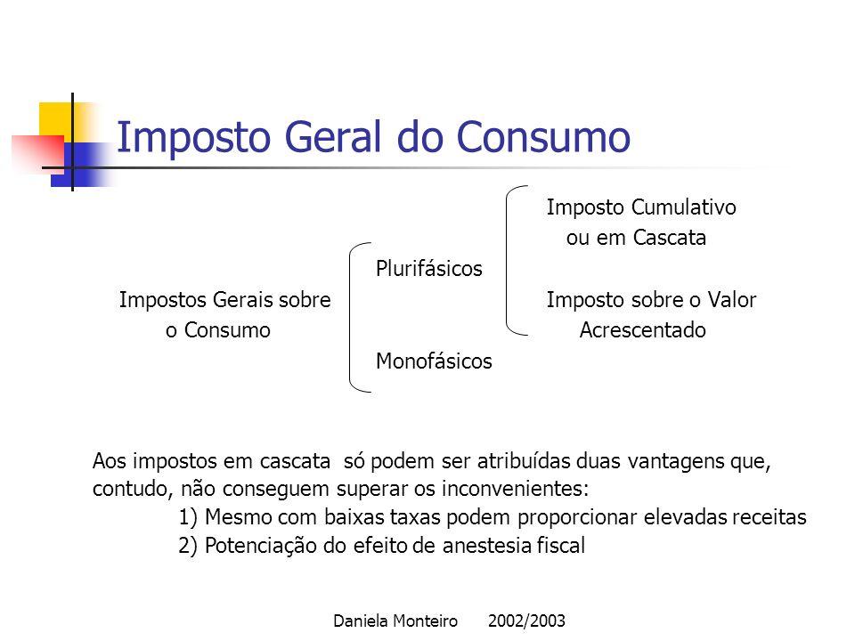 Daniela Monteiro 2002/2003 Imposto Geral do Consumo Imposto Cumulativo ou em Cascata Plurifásicos Impostos Gerais sobre Imposto sobre o Valor o Consum