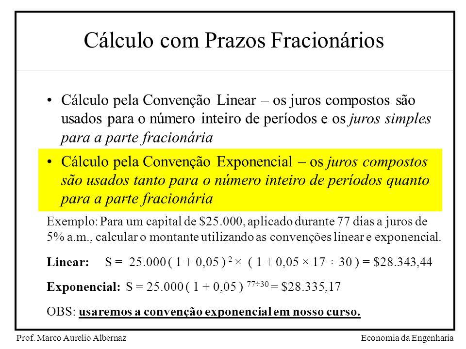 Economia da EngenhariaProf. Marco Aurelio Albernaz Cálculo com Prazos Fracionários Cálculo pela Convenção Linear – os juros compostos são usados para