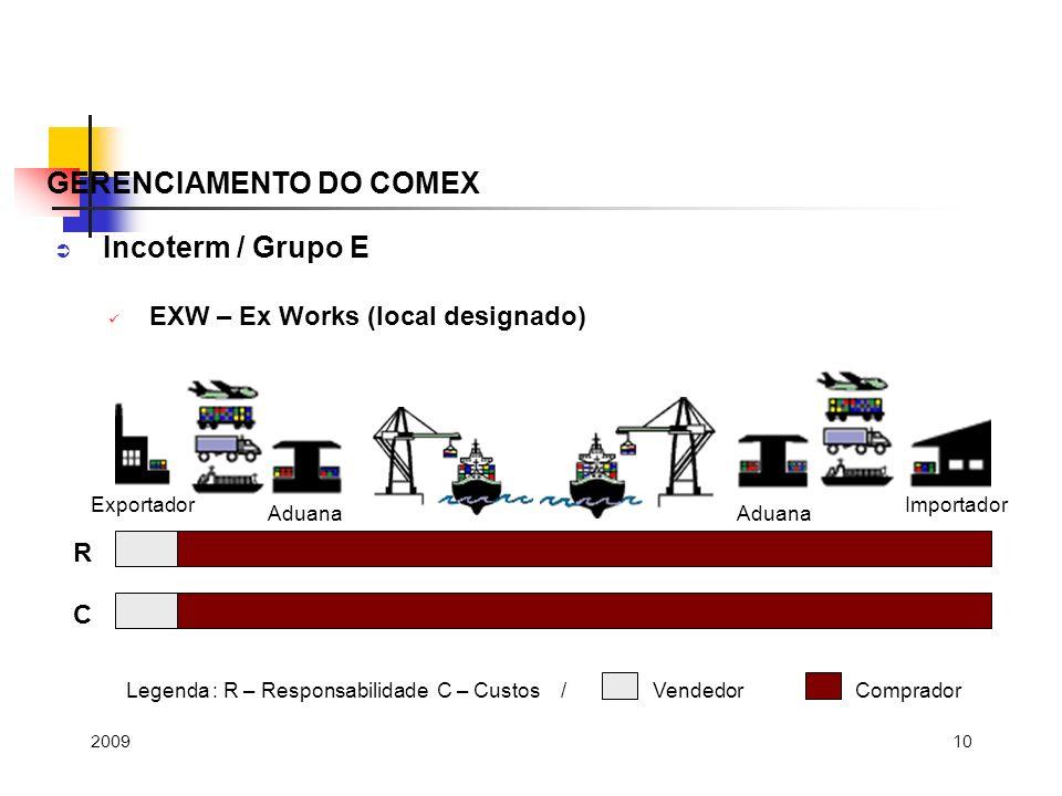 10 Incoterm / Grupo E EXW – Ex Works (local designado) GERENCIAMENTO DO COMEX R C Legenda : R – Responsabilidade C – Custos / Vendedor Comprador Exportador Aduana Importador 2009