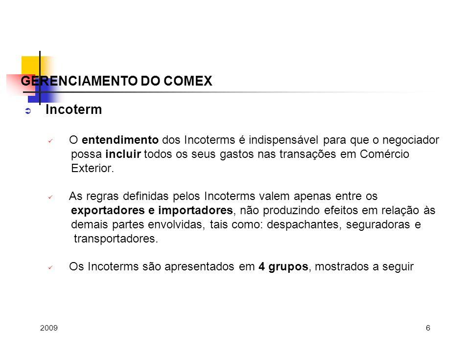 6 Incoterm O entendimento dos Incoterms é indispensável para que o negociador possa incluir todos os seus gastos nas transações em Comércio Exterior.